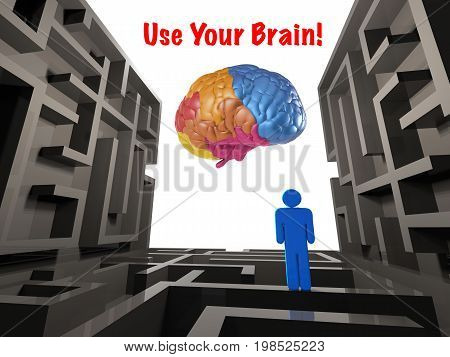 use your brain concept with 3d rendering labyrinth and colourful brain