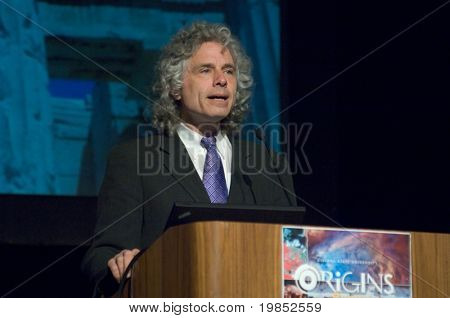 TEMPE, AZ - APRIL 6: Cognitive scientist and psychologist Dr. Steven Pinker addresses the Origins Symposium at Arizona State University on April 6, 2009 in Tempe, AZ.