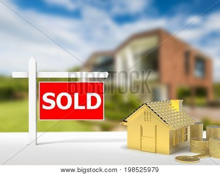 3d rendering sold house sign with gold house model