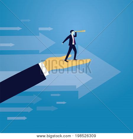 Vector illustration. Business success moving forward leadership concept. Businessman raised by giant hand to search for success high in the sky with telescope. Visionary directing way of success progress conceptual