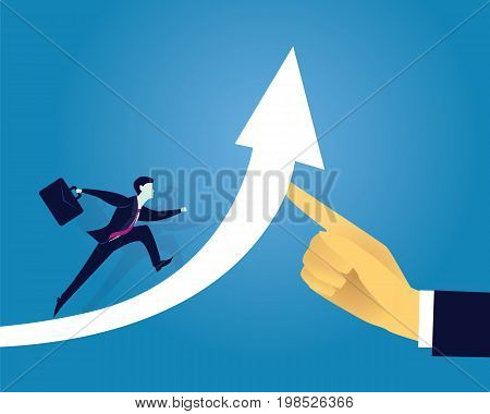 Vector illustration. Business success moving forward leadership concept. Businessman running on arrow of success raised by giant hand of leader. Directing way of success progress conceptual