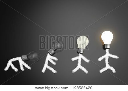 innovation concept with human and 3d rendering light bulbs shining