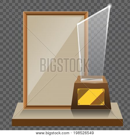 3d Vector glass star trophy with base and blank frame for copyspace front view isolated on white background. Vector illustration