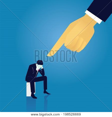 Vector illustration. Business failure guilty concept. Businessman frustrated sad down thinking of his fault sitting while pointing finger of giant leader hand directing on him