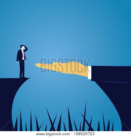Vector illustration. Business challenge concept. Businessman in doubt thinking of risk to conquer obstacle challenge gap with help of giant leader hand