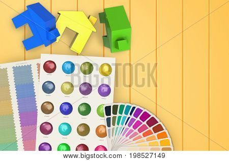 home painting concept with 3d rendering colorful mock up houses and color chart