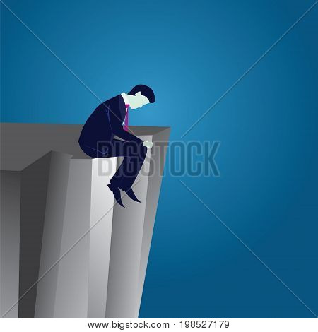 Vector illustration. Business failure concept. Businessman frustrated sad down thinking of his loss while sitting on the edge of cliff