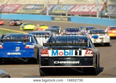 AVONDALE, AZ - APRIL 18: Sam Hornish Jr. #77 trails the field at the NASCAR Sprint Cup race at the Phoenix International Raceway on April 18, 2009 in Avondale, AZ.