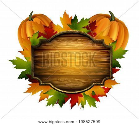 wooden vector autumn board with pumpkin and fall leaves and birds with wooden board on a white background