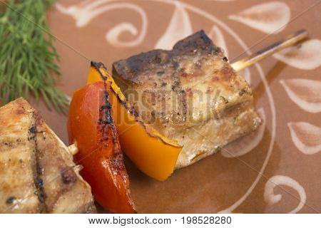 Sturgeon  shish kebab with vegetables on a clay plate. Photo can be used as a whole background.