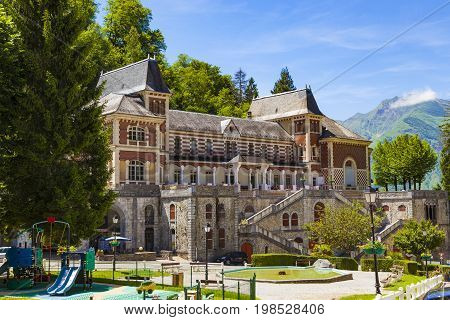 EAUX-BONNES FRANCE - JUNE 7 2017: Les Eaux-Bonnes a mountain spa resort in the French Pyrenees conserves the charm of the Belle Epoque style.