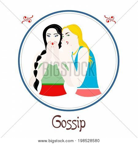 Illustration with a womans on the theme of gossip.