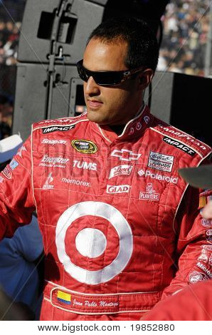 AVONDALE, AZ - APRIL 18 Juan Pablo Montoya is introduced before the start of the NASCAR Sprint Cup race at the Phoenix International Raceway on April 18, 2009 in Avondale, AZ.