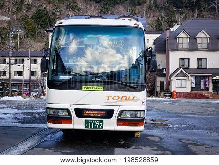 Bus Stop At Yumoto Onsen In Nikko, Japan