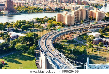 Aerial view of the Triborough Bridge on Randall's Island in New York City