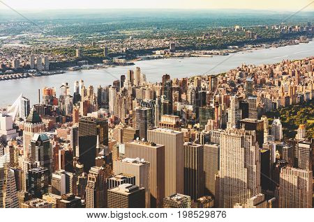 Aerial view of Midtown Manhattan, NY skycrapers