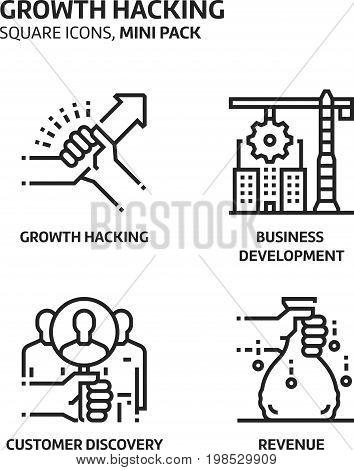 Growth. Hacking, Square Mini Icon Set