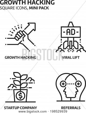 Growt Hacking, Square Mini Icon Set