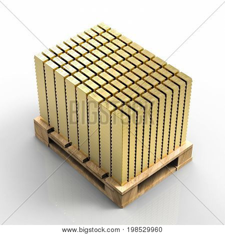 3d rendering pallet of bullions on white background