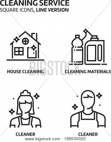 Cleaning Service, Square Mini Icon Set