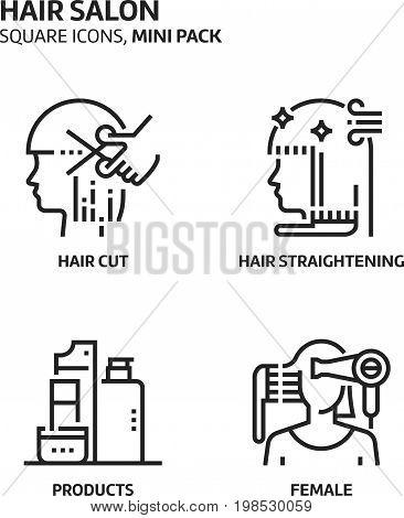 Hairdresser, Square Mini Icon Set