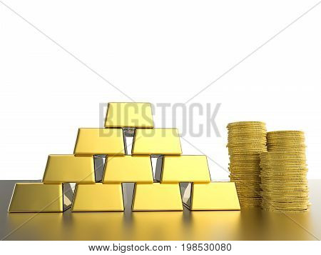 3d rendering stack of gold coins and bullions on white background