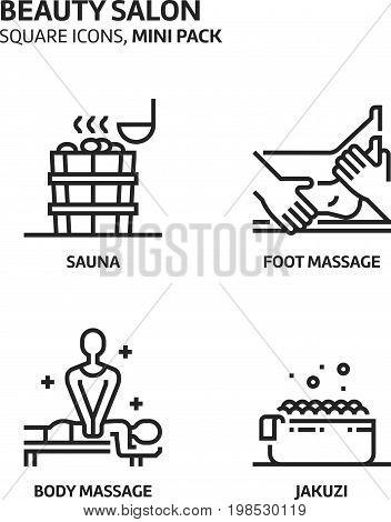 Beautiy Salon, Square Mini Icon Set