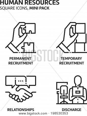 Human Resources, Square Mini Icon Set.