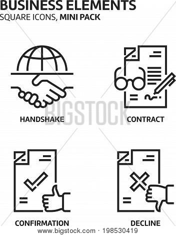 Business Elements, Square Mini Icon Set.