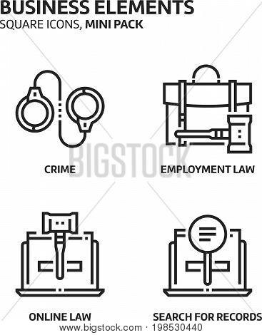 Law And Justice, Square Mini Icon Set.