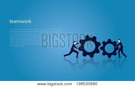 Vector illustration. Business teamwork concept. Businessmen working in team Group of people moving forward and pushing to match metal gear together