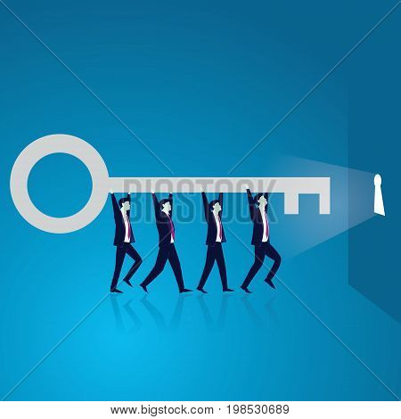 Vector illustration. Business teamwork key of success concept. Businessmen working in team. Group of people lifting key of success stepping forward to open bright future keyhole together.