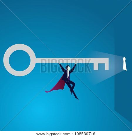 Vector illustration. Super strong power businessman lifting key of success concept. Superhero flying and holding key of success moving forward to open bright future keyhole.