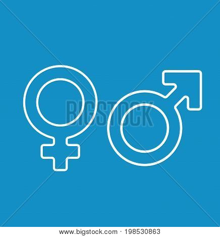 Gender symbol with heads of man and woman. Female and male sign icon isolated on background. Vector stock.