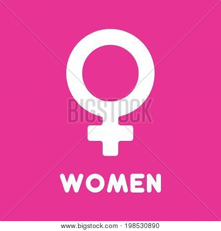 Gender symbol with head of woman. Female sign icon isolated on background. Vector stock.