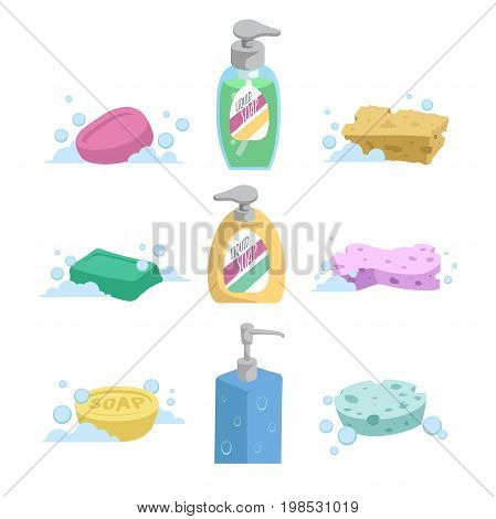 Cartoon clean bath set. Shampoo and liquid soap with dispenser soap and colorful spoonges. Trendy stylized vector icon collection.