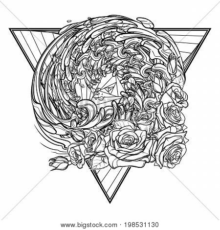 Alchemic Element of water sign. Down pointing triangle with rose garland and water splashes. Concept design for the tattoo, colouring book or postcard. EPS10 .
