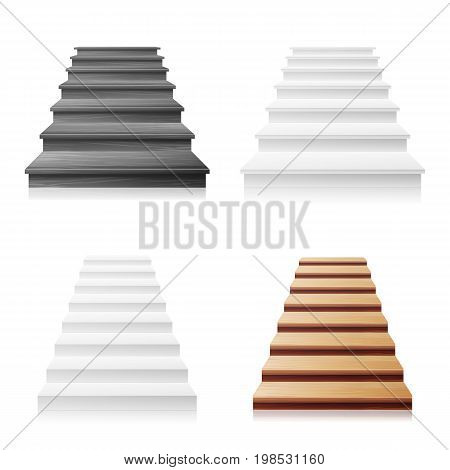 Staircase Vector Set. White, Wooden Dark. 3D Realistic Illustration. Front View Of Clean White Empty Staircase Vector. Business Success Progress Concept