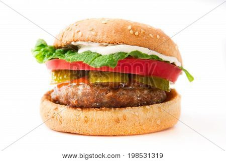 Homemade Burger Isolated On The White Background