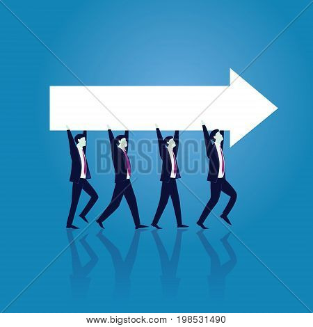 Vector illustration. Business teamwork directional concept. Businessmen working in team Group of people moving forward and lifting arrow direction way of success together.