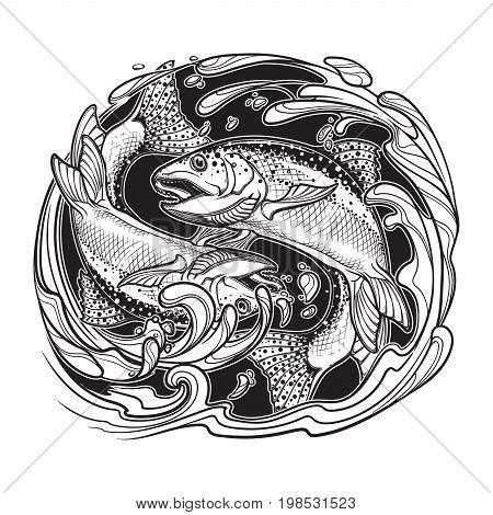 Alchemy element of water. Zodiac sign - Pisces. Two fishes jumping from the water. Circle composition. Vintage art nouveau style concept art for horoscope, tattoo or colouring book. EPS10 vector
