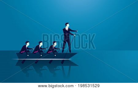 Vector illustration. Business teamwork leadership concept. Businessmen working in team Group of people rowing boat together. Leader work with and motivating his team to move forward for success