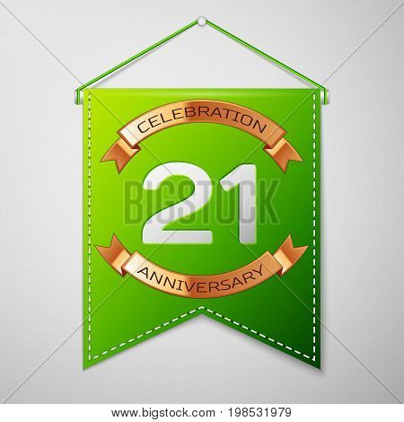 Realistic Green pennant with inscription Twenty one Years Anniversary Celebration Design on grey background. Golden ribbon. Colorful template elements for your birthday party. Vector illustration