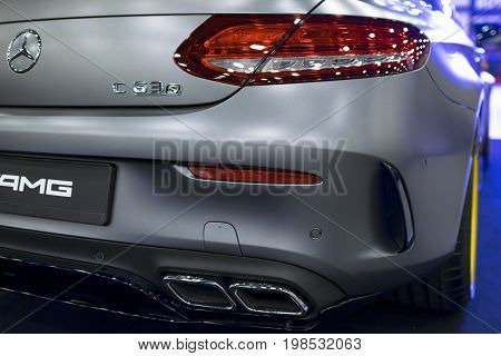Sankt-Petersburg Russia July 21 2017: Back view of a Mercedes Benz C 63s AMG coupe 2017. Rear light. Car exterior details. Photo Taken at Royal Auto Show July 21
