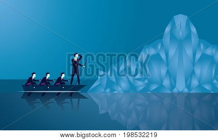 Vector illustration. Business teamwork leadership challenge concept. Businessmen working in team. Group of people rowing boat together. Leader work with his team and thinking to lead his team conquering obstacle. Facing big iceberg as threat