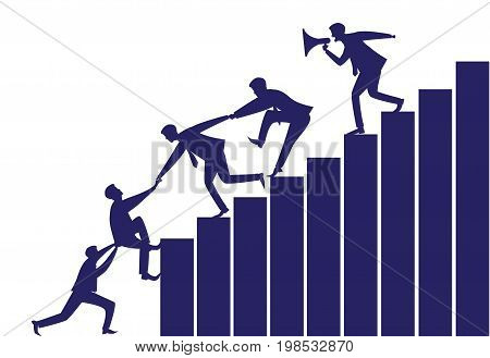 Vector silhouette illustration. Business teamwork leadership concept. Businessmen working together helping each other to climb ladder of success. Leader motivating his team to work hard for top position