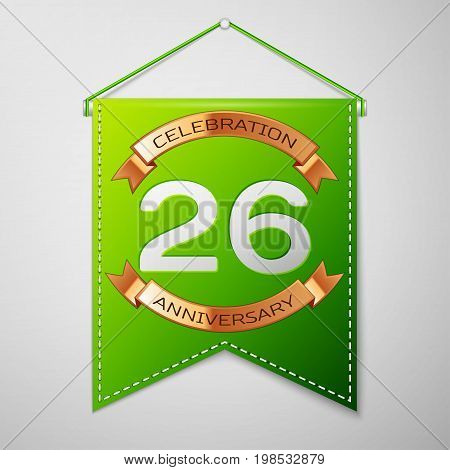Realistic Green pennant with inscription Twenty six Years Anniversary Celebration Design over a grey background. Golden ribbon. Colorful template elements for your birthday party. Vector illustration