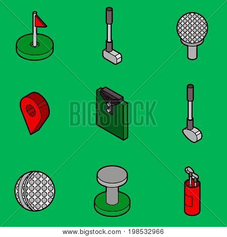 Golf flat outline isometric set. Includes such Icons as a Golf ball, hole, Golf car, field games, stick, sports uniforms, gloves, backpack