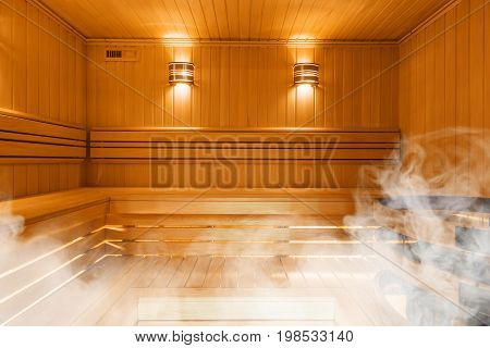 Interior of Finnish sauna, classic wooden sauna, Finnish bathroom
