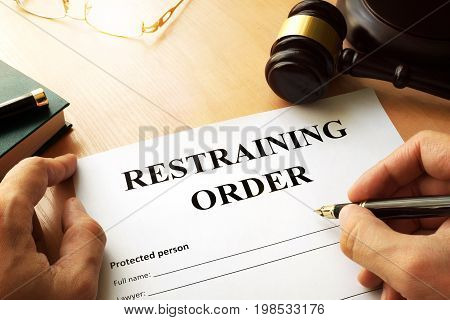 A Document with the name restraining order.